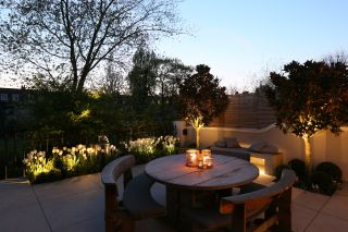 this small london garden has plenty of garden lighting ideas