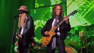 Kirk Hammett and Billy Gibbons perform at the Peter Green tribute concert
