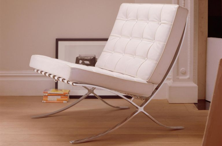 mies van der rohe's barcelona chair in white