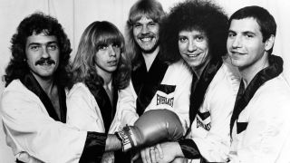 Dennis De Young, Tommy Shaw, James Young, John Panazzo and Chuck Panazzo of the rock quintet 'Styx' poses for a portrait