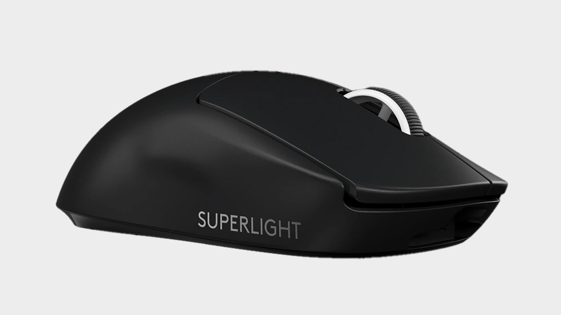 Logitech G Pro X Superlight wireless gaming mouse on grey background