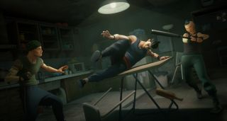 Sifu's protagonist slides across a folding table as a goon attempts to hit him with a bat and another stands ready to grab him.