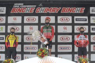 Dutch Loes Adegeest Belgian Sara Van De Vel and Dutch Nicole Steigenga celebrate on the podium of the women's Binche-Chimay-Binche