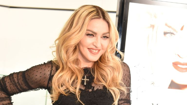 """Madonna attends the promotional event for """"MDNA SKIN"""" on February 15, 2016 in Tokyo, Japan."""