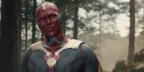 Vision staring intently in Avengers: Age of Ultron