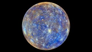 A false-color image of Mercury taken by the MESSENGER spacecraft highlights the physical variation across the planet.
