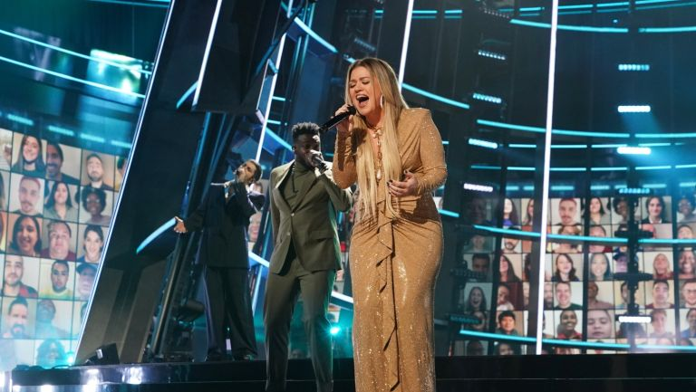 Kelly Clarkson performs during the 2020 Billboard Music Awards held at the Dolby Theatre in Hollywood, CA.