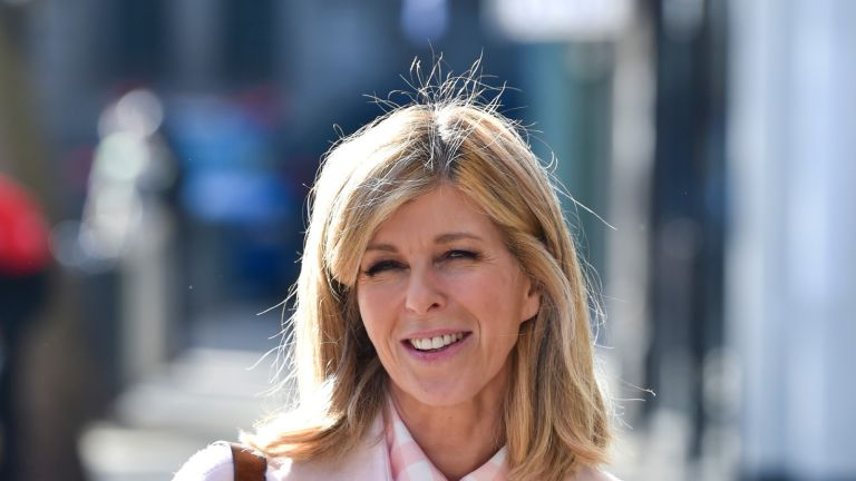 Kate Garraway seen arriving at the Global Radio studios in London. (Photo by Dave Rushen/SOPA Images/LightRocket via Getty Images)