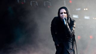 A shot of Marilyn Manson on stage