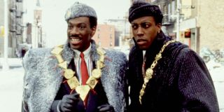 Coming To America Akeem and Semmi dressed up on the streets of New York