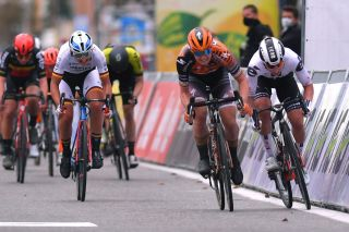 DE PANNE BELGIUM OCTOBER 20 Sprint Arrival Jolien Dhoore of Belgium and Boels Dolmans Cycling Team Disqualified Lorena Wiebes of The Netherlands and Team Sunweb Lisa Brennauer of Germany and Ceratizit Wnt Pro Cycling Team Lotte Kopecky of Belgium and Team Lotto Soudal Ladies Sarah Roy of Australia and Team Mitchelton Scott during the 3rd Driedaagse Brugge De Panne 2020 Women Classic a 1563km race from Brugge to De Panne AG3daagse on October 20 2020 in De Panne Belgium Photo by Luc ClaessenGetty Images