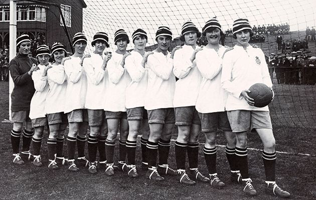 During and just after World War One footballers were women, many of whom played for teams made up of factory workers supporting the war effort.