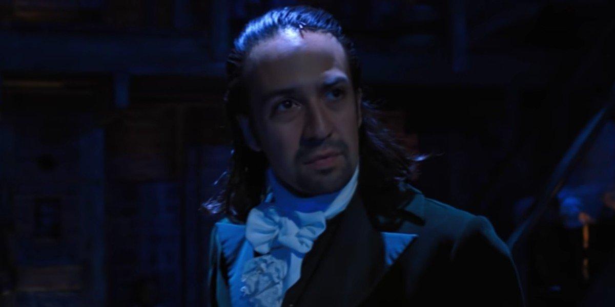 Alexander Hamilton looking forward in a scene from 'Hamilton'.