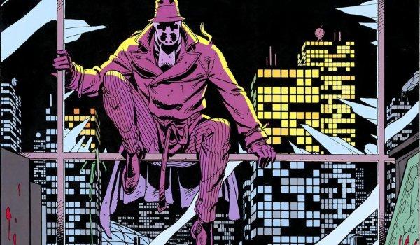 Watchmen Rorschach sits on The Comedian's windowsill, seen through a broken window