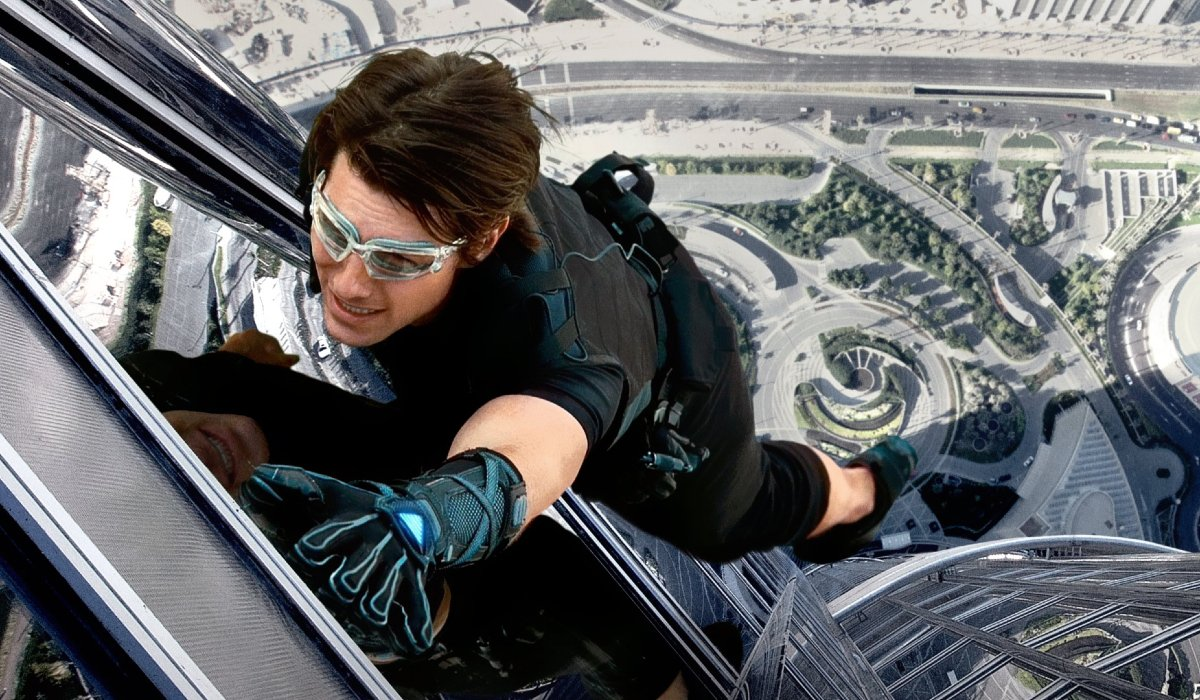 Tom Cruise hangs off of the Burj Khalifa in Mission: Impossible - Ghost Protocol.