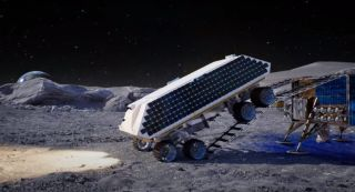 In this screenshot from an animation about the Rocket Mining System, a joint effort of Masten Space System, Lunar Outpost and Honeybee Robotics, a rocket-equipped rover rolls onto the lunar surface to begin its ice-mining work.