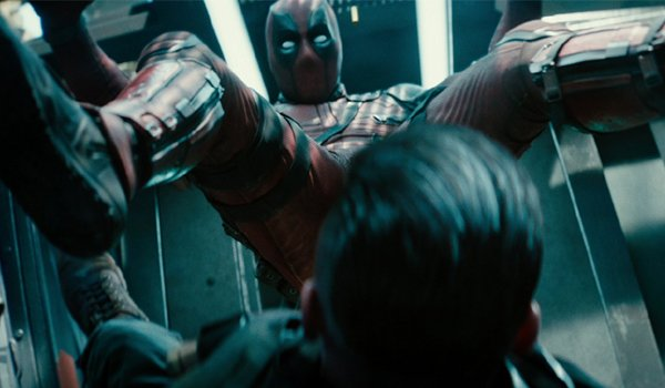 Dedapool crashing into Cable crotch first in Deadpool 2