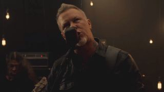 Metallica's James Hetfield in the video for Moth Into Flame