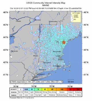 A USGS map showing, in blue, where people reported feeling the Maine earthquake (on Oct. 16, 2012).