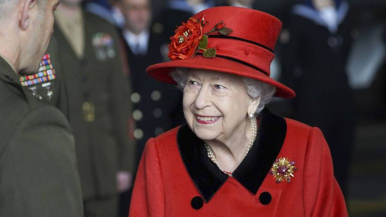 Queen Elizabeth II during a visit to HMS Queen Elizabeth at HM Naval Base ahead of the ship's maiden deployment on May 22, 2021