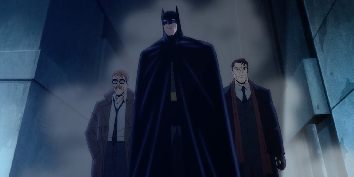 Jim Gordon, Batman, and Harvey Dent in Batman: The Long Halloween, Part One