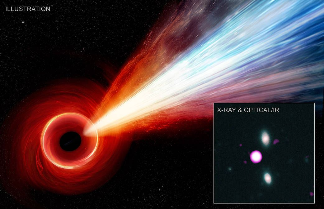 This jet from a monster black hole is so huge it dwarfs our Milky Way galaxy