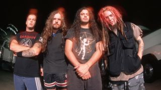 A photograph of Roots-era Sepultura