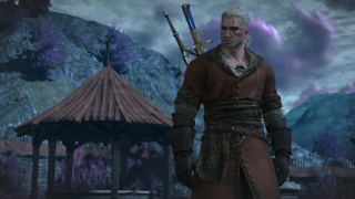 The Witcher 3 Geralt in front of a hut