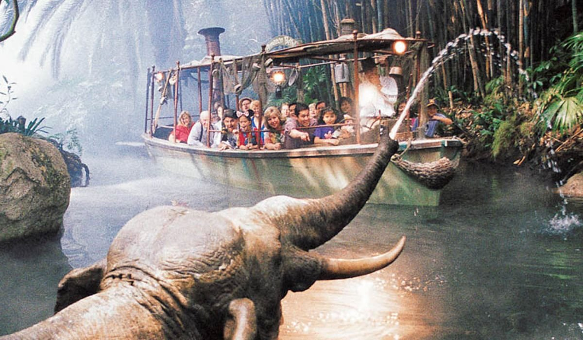 Jungle Cruise boat with elephants