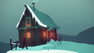 A snow-covered cabin from video game The Long Dark.