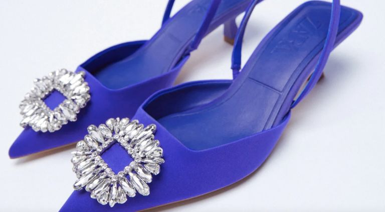 Zara's blue shoes with jeweled buckle