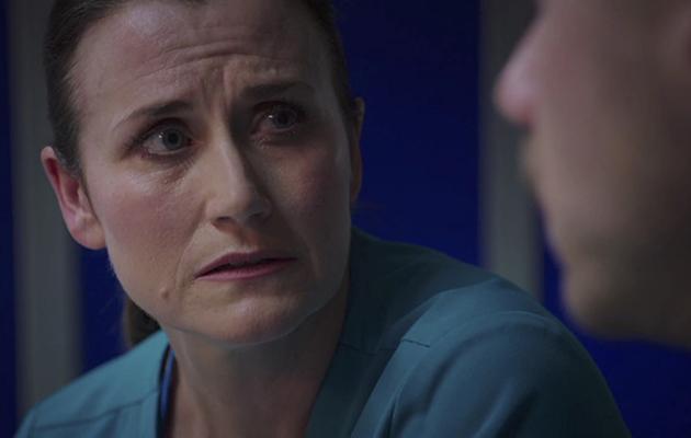 Ange tells Dominic Chloe secret in Holby