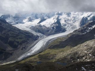 Warming temperatures due to climate change have caused the Morteratsch glacier in Switzerland to retreat in length at a rate of about 98 feet to 131 feet (30 to 40 meters) per year.