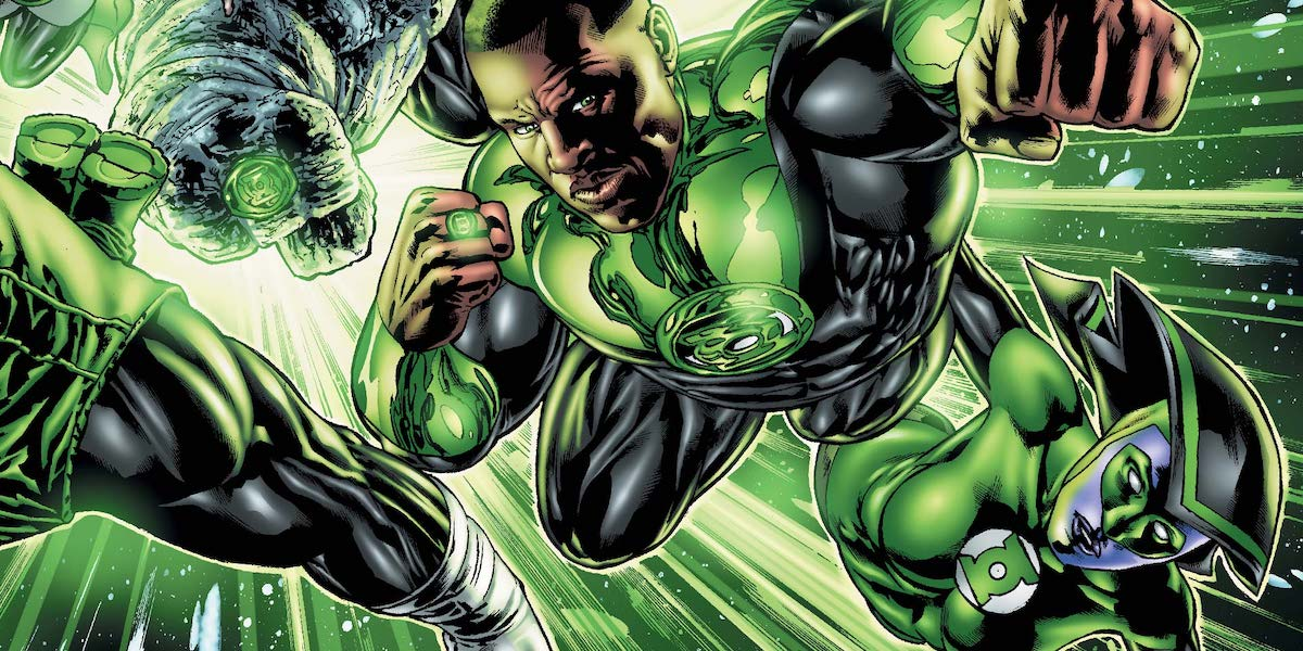 John Stewart flying with other Green Lanterns