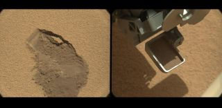 Curiosity Rover Takes Its First Scoop of Mars