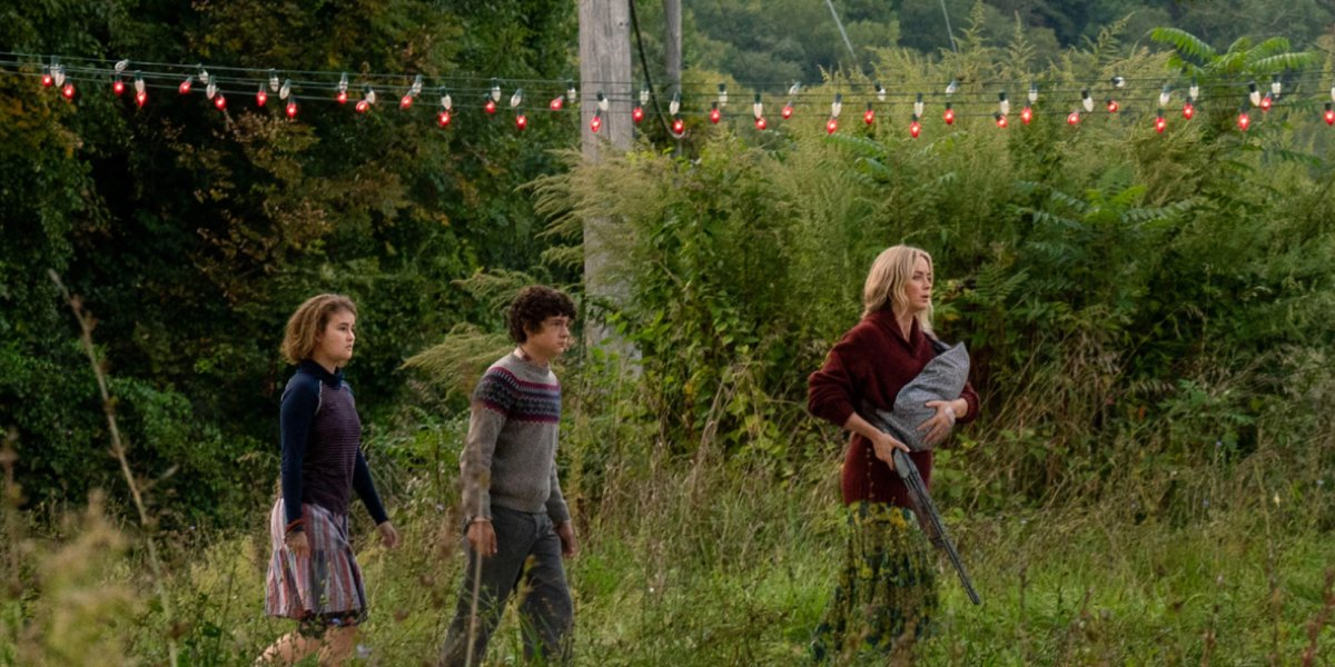 Millicent Simmonds, Noah Jupe, and Emily Blunt in A Quiet Place