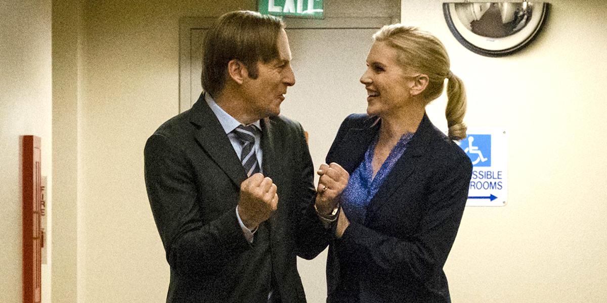 Better Call Saul Season 4 finale Jimmy and Kim celebrate AMC