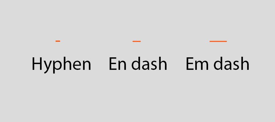 Examples of a hyphen, en dash and em dash