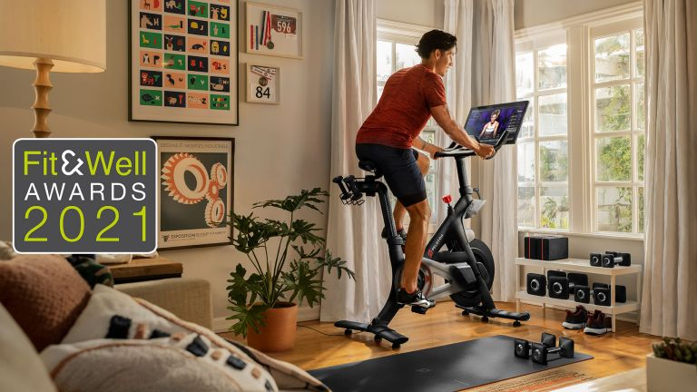 Man riding a Peloton bike, one of the winners in the Home Workout Heroes category at the Fit&Well Awards 2021