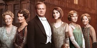 The Crawley family lined up outside the residence in Downton Abbey: The Motion Picture.