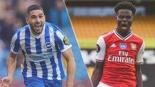 Neal Maupay of Brighton & Hove Albion and Bukayo Saka of Arsenal