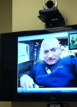Rep. Gabrielle Giffords posted this picture of her husband, astronaut Mark Kelly, video-chatting from space on her Twitter account. Kelly is commanding the space shuttle Endeavour's STS-134 mission to the International Space Station.