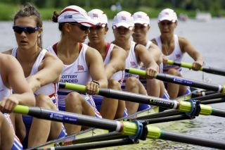 The British women's 8 team concentrate before the start of their race at the world championships under 23 - on July 22, 2011 in Bosbaan, Amsterdam, The Netherlands