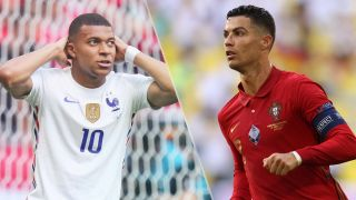 Portugal vs France live stream at Euro 2020 — Kylian Mbappe of France and Cristiano Ronaldo of Portugal