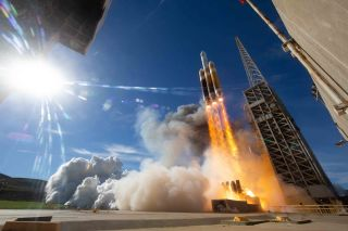 A United Launch Alliance Delta IV Heavy rocket carrying the classified NROL-71 spy satellite for the U.S. National Reconnaissance Office launches from California's Vandenberg Air Force Base on Jan. 19, 2019.