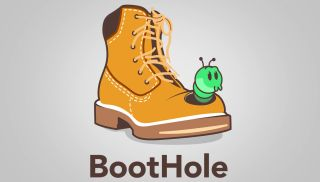 The BootHole logo, a cute green cartoon worm poking out of a work boot.