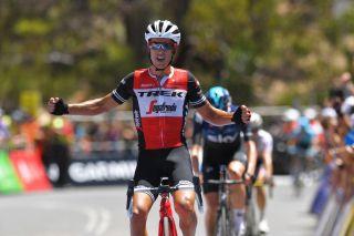 Trek-Segafredo's Richie Porte takes his sixth-straight win on the Willunga Hill stage at the 2019 Tour Down Under