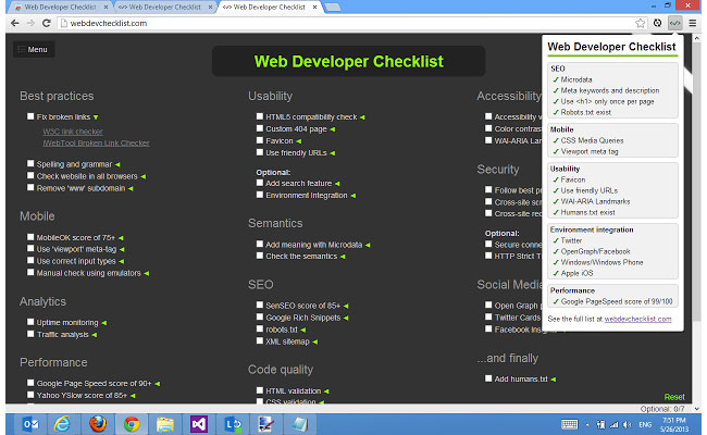 Google Chrome extensions - Web Developer Checklist
