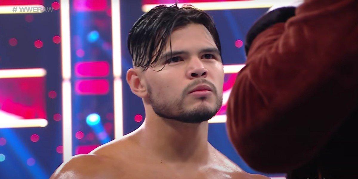 Humberto Carrillo looking mad on Monday Night Raw USA
