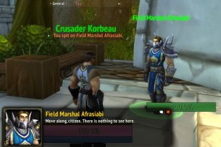 A player uses the /spit emote on an NPC named after Alex Afrasiabi